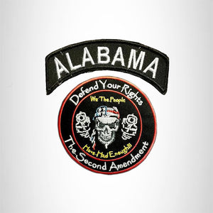 ALABAMA Defend Your Rights the 2nd Amendment 2 Patches Set for Vest Jacket