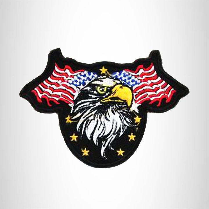 Small Patch 2 USA Flags with Eagle Iron on for Biker Vest SB903