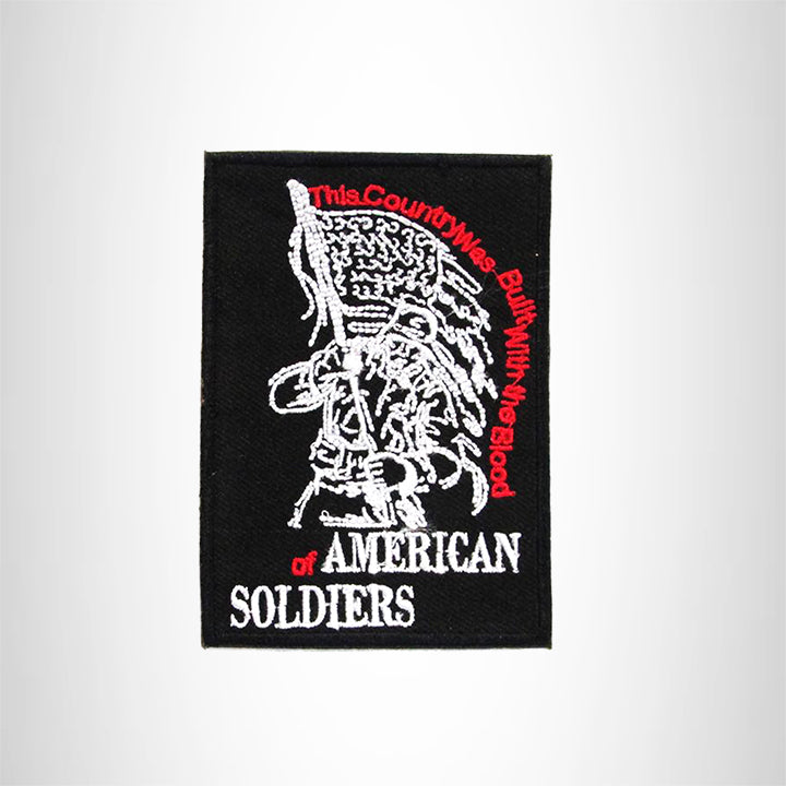 AMERICAN SOLDIERS WITH FLAG Iron on Small Patch for Biker Vest SB899