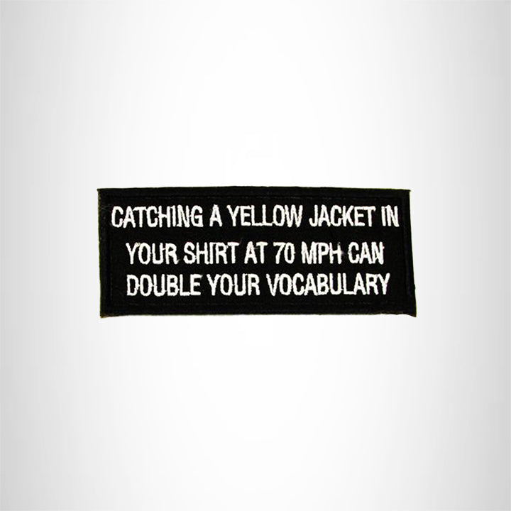 CATCHING A YELLOW JACKET Iron on Small Patch for Biker Vest SB905