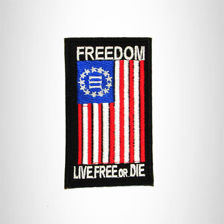 FREEDOM FLAG LIVE FREE OR DIE Iron on Small Patch for Biker Vest SB911