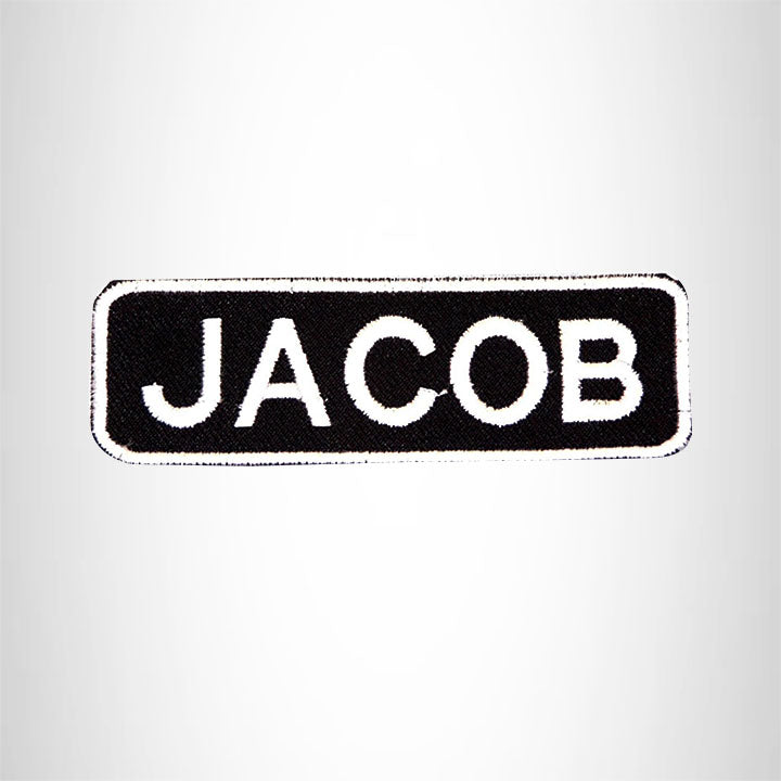 JACOB Black and White Name Tag Iron on Patch for Biker Vest and Jacket NB225