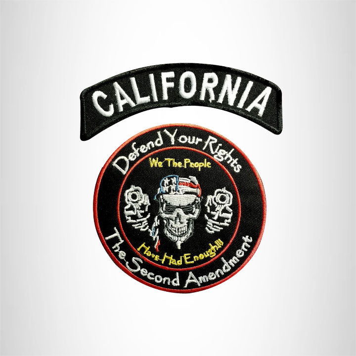 CALIFORNIA Defend Your Rights the 2nd Amendment 2 Patches Set for Vest Jacket