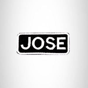 Jose White on Black Iron on Name Tag Patch for Biker Vest NB122