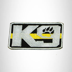 K9 Yellow Gray on Black Iron on Small Patch for Biker Vest SB914