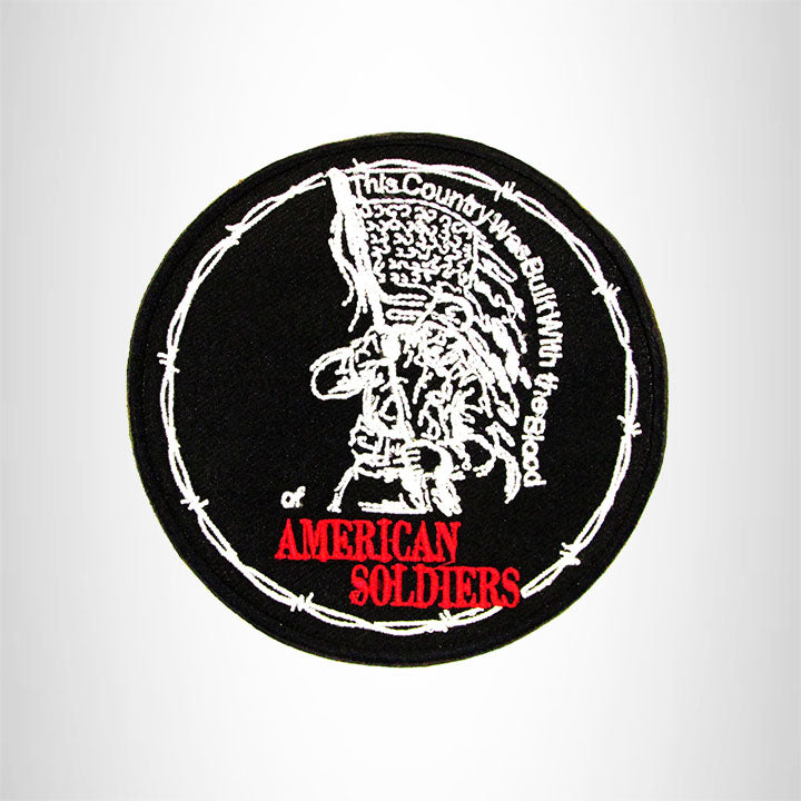 AMERICAN SOLDIERS White Red on Black Iron on Small Patch for Biker Vest SB922