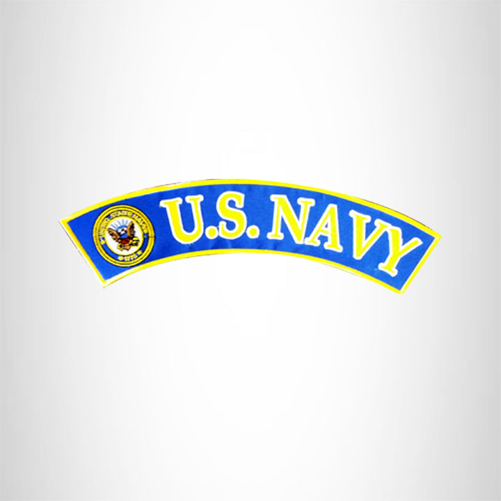 U.S NAVY Yellow and White on Blue Top Rocker Patch for Biker Vest Jacket