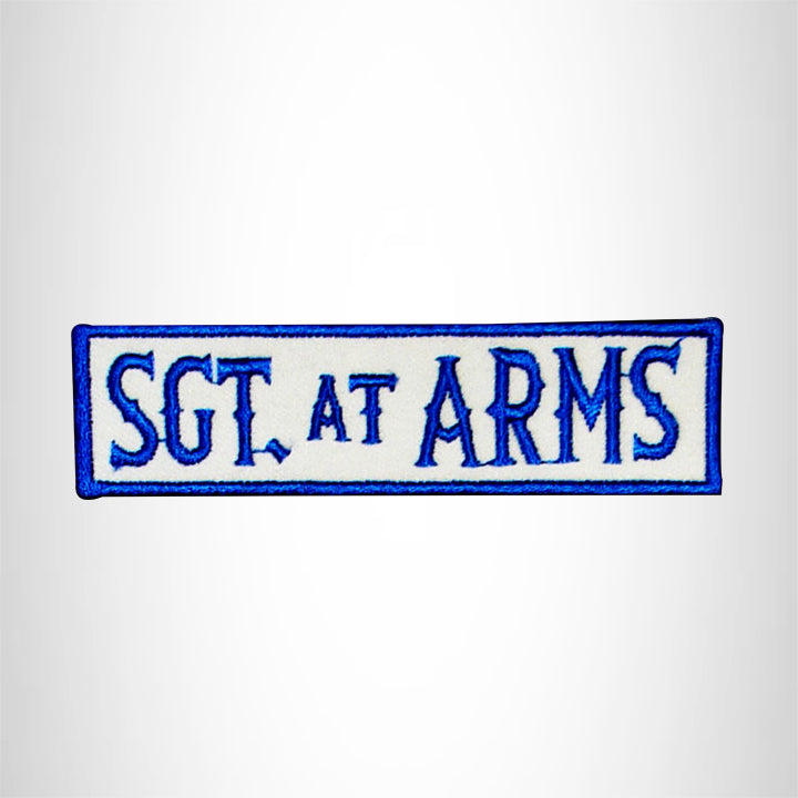 SGT. AT ARMS  Blue on White Small Patch Iron on for Biker Jacket Vest SB446
