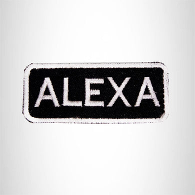 Alexa White on Black Iron on Name Tag Patch for Biker Vest NB100