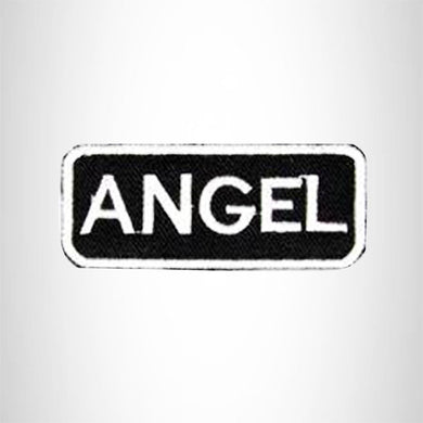 Angel White on Black Iron on Name Tag Patch for Biker Vest NB101