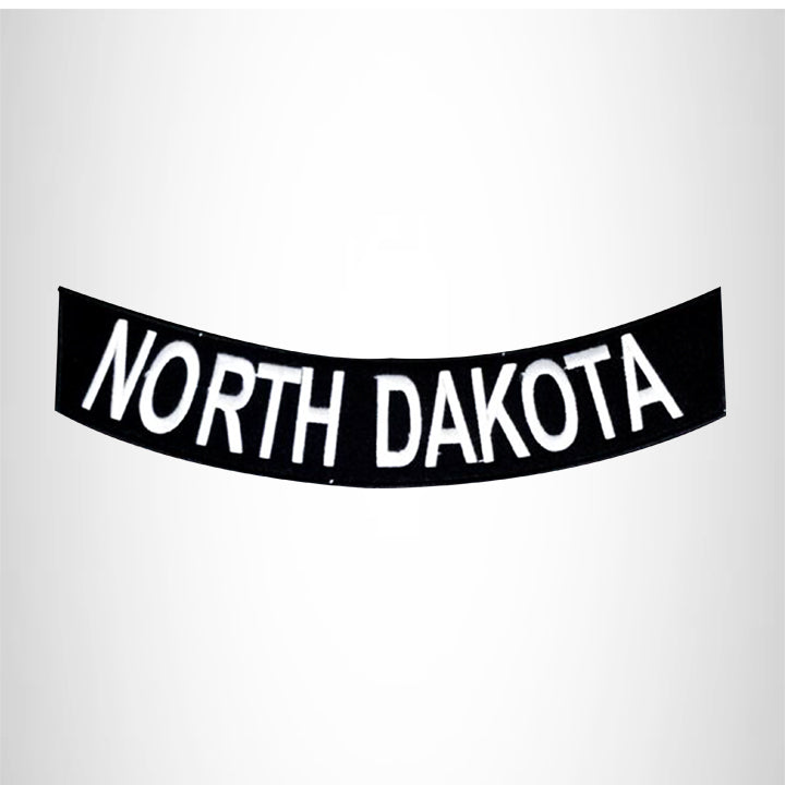 NORTH DAKOTA White on Black Bottom Rocker Patch for Vest Jacket