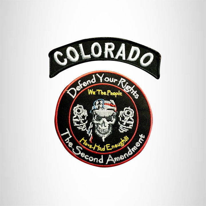 COLORADO Defend Your Rights the 2nd Amendment 2 Patches Set for Vest Jacket