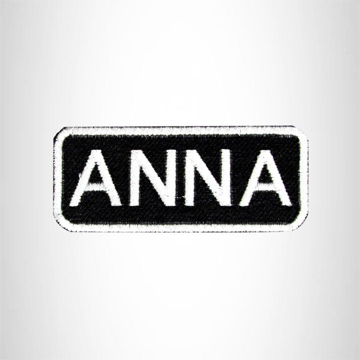 Anna White on Black Iron on Name Tag Patch for Biker Vest NB102