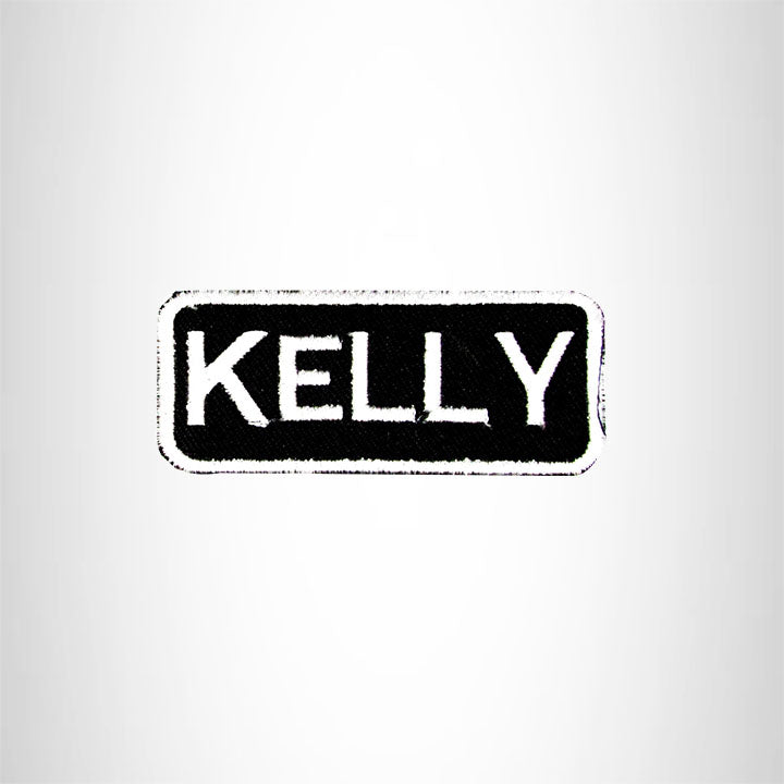 Kelly White on Black Iron on Name Tag Patch for Biker Vest NB126