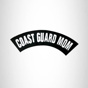 COAST GUARD MOM White on Black Top Rocker Patch for Biker Vest Jacket TR282