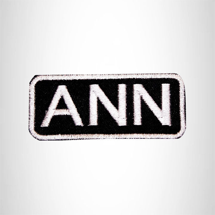 Ann White on Black Iron on Name Tag Patch for Biker Vest NB103