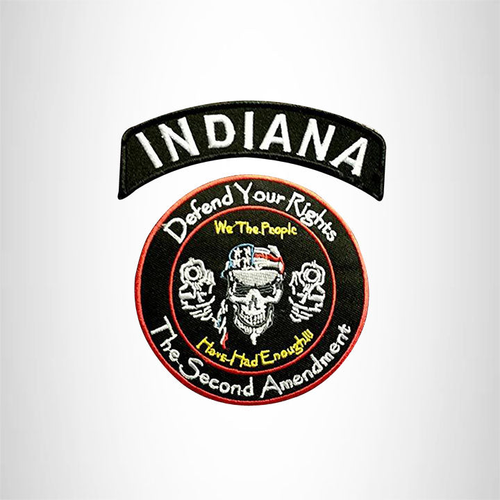 INDIANA Defend Your Rights the 2nd Amendment 2 Patches Set for Vest Jacket