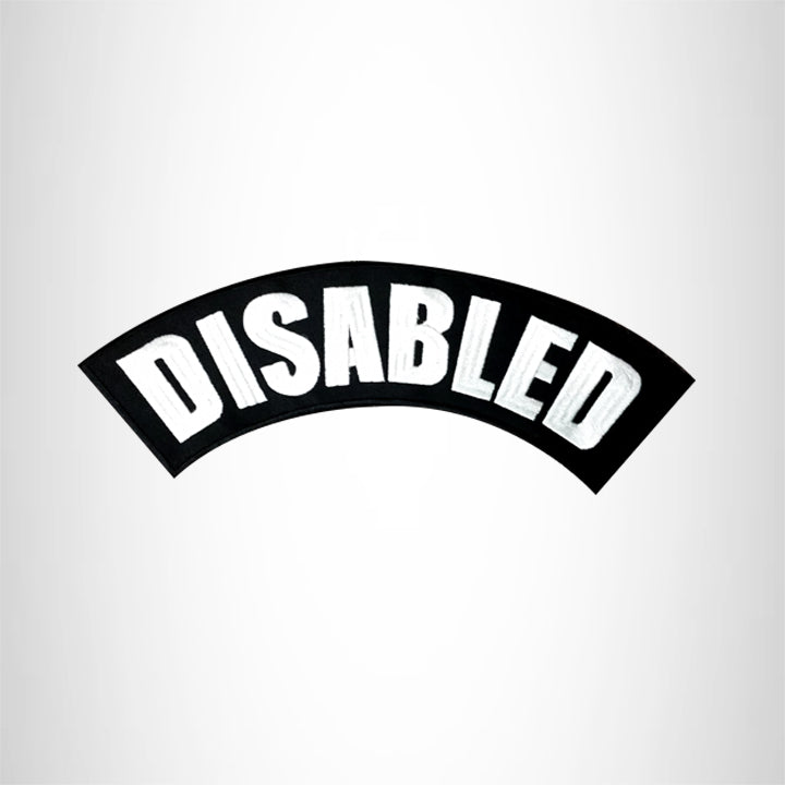 DISABLED White on Black Top Rocker Patches for Vest jacket TR284