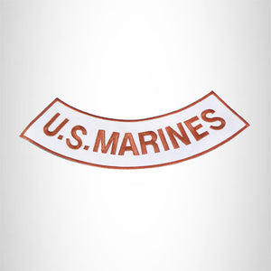 U.S. Marines Copper on White Bottom Rocker Iron on Patch for Biker Vest BR471