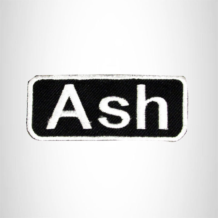Ash White on Black Iron on Name Tag Patch for Biker Vest NB105