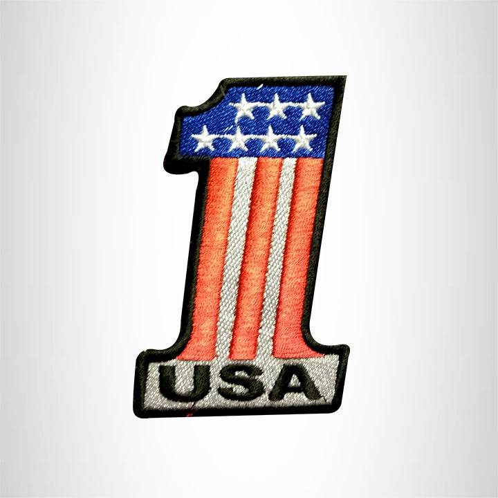 USA 1 Red white and blue Small Patch Iron on for Vest Jacket SB649