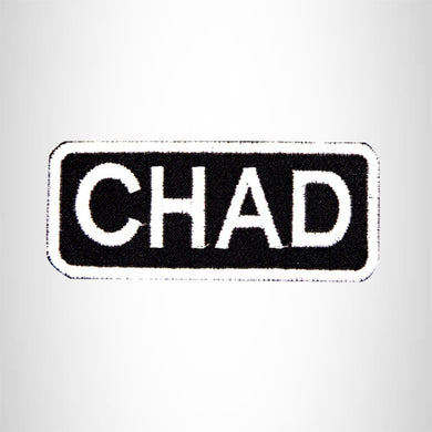 CHAD White on Black Iron on Name Tag Patch for Biker Vest NB206