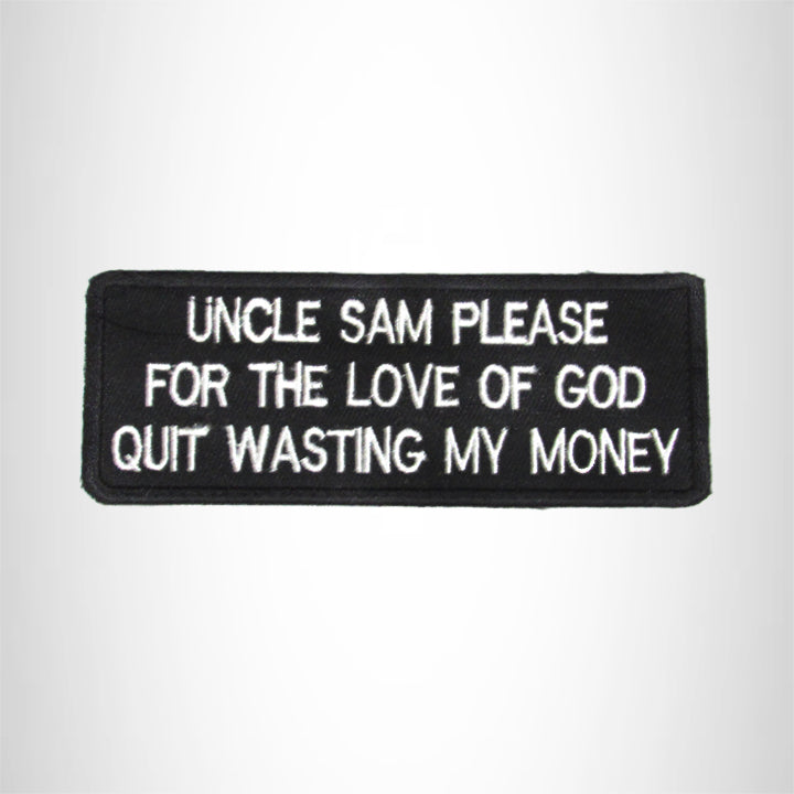 Uncle Sam please for the love of God Iron on Small Patch for Biker Vest SB999