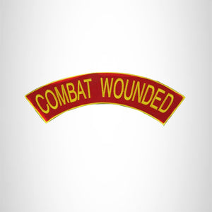 COMBAT WOUNDED Yellow Red and Black Top Rocker Patch for Biker Vest Jacket