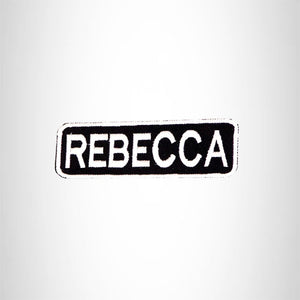 REBECCA Black and White Name Tag Iron on Patch for Biker Vest and Jacket NB314
