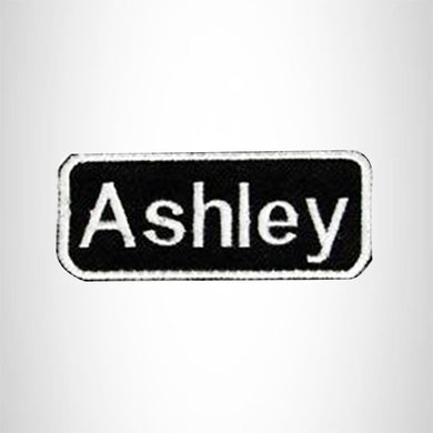 Ashley White on Black Iron on Name Tag Patch for Biker Vest NB106