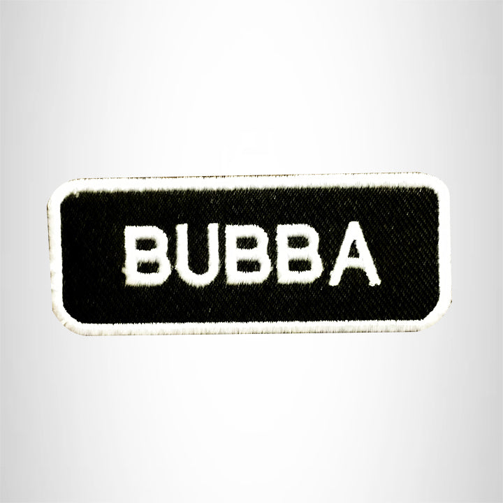 BUBBA White on Black Small Patch Iron on for Vest Jacket SB645