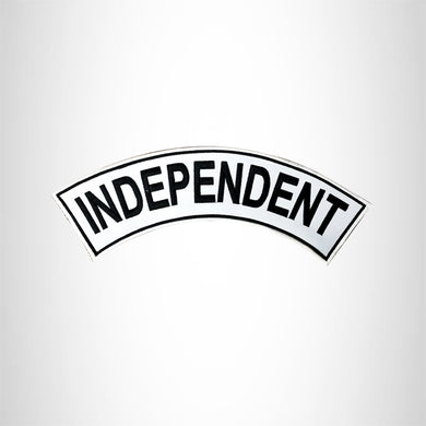 INDEPENDENT Black On White with Boarder Top Rocker Patch for Motorcycle Vest