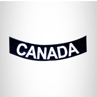 CANADA	 White on Black Bottom Rocker Patches for Vest jacket BR398