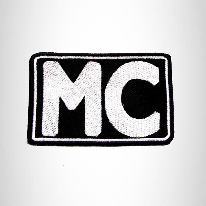 MC White on Black Iron on Small Patch for Motorcycle Biker Vest SB1030