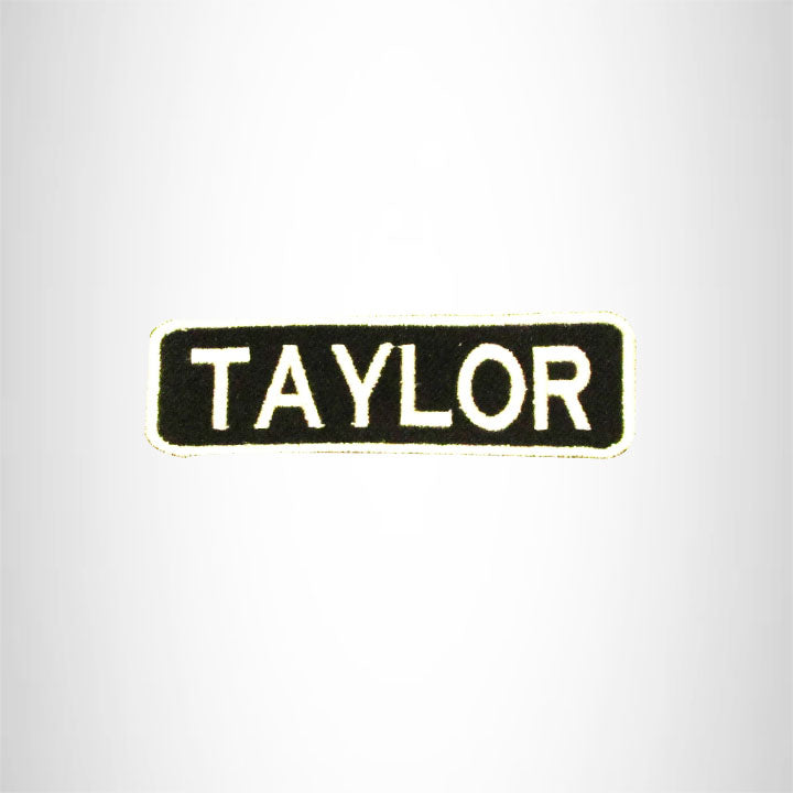 Taylor White on Black Iron on Name Tag Patch for Biker Vest NB257