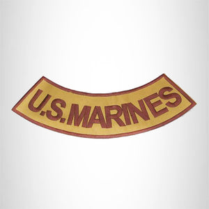 U.S.MARINES Brown on Gold with Boarder Bottom Rocker Iron on Patch for Biker Vest