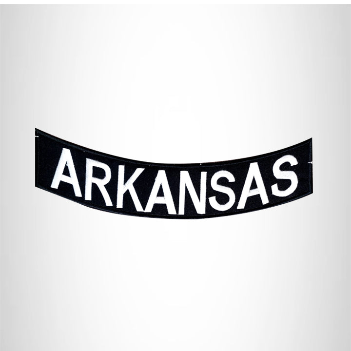 ARKANSAS White on Black Bottom Rocker Patch for Vest jacket BR399