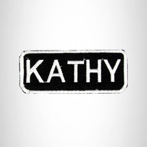 Kathy White on Black Iron on Name Tag Patch for Biker Vest NB123