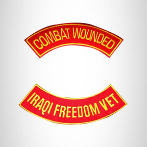 COMBAT WOUNDED IRAQI FREEDOM VET 2 Patches Set Sew on for Vest Jacket
