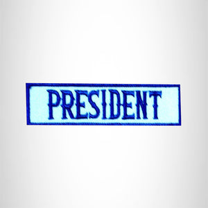 PRESIDENT Blue on White Small Patch Iron on for Biker Jacket Vest SB440
