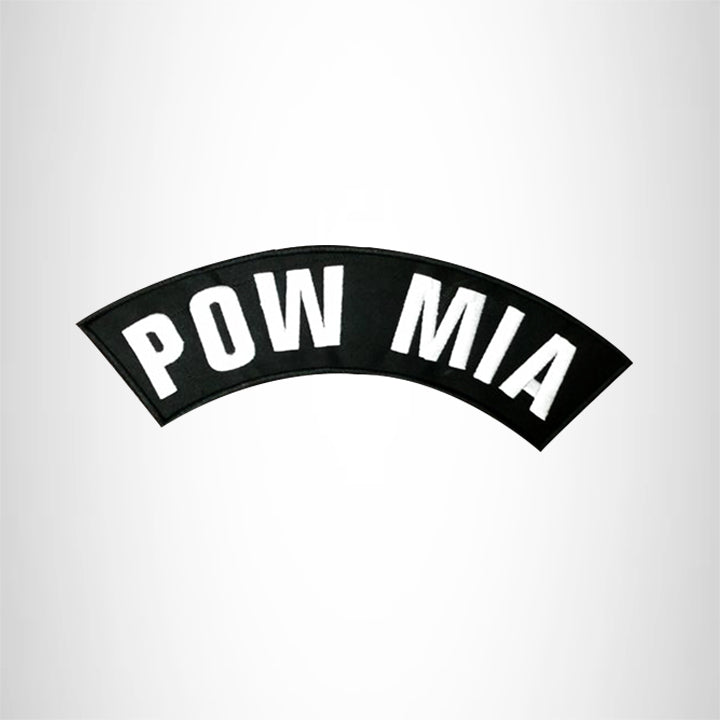 POW MIA White on Black Top Rocker Patch for Biker Vest Jacket TR290