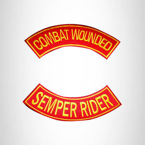 COMBAT WOUNDED SEMPER RIDER 2 Patches Set Sew on for Vest Jacket