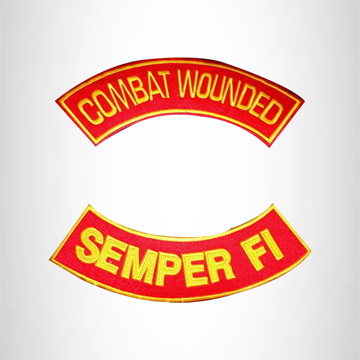 COMBAT WOUNDED SEMPER FI Rocker 2 Patches Set Sew on for Vest Jacket