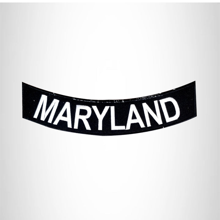 MARYLAND White on Black Bottom Rocker Patch for Vest jacket BR404
