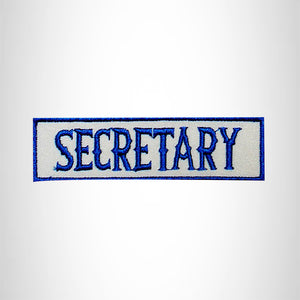 SECRETARY Blue on White Small Patch Iron on for Biker Jacket Vest SB444