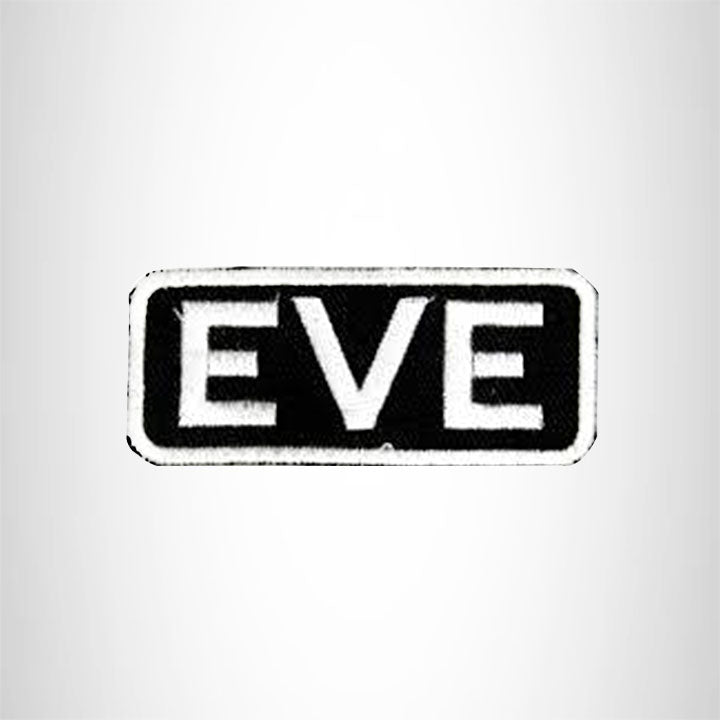 Eve White on Black Iron on Name Tag Patch for Biker Vest NB115