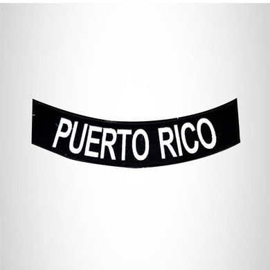 PUERTO RICO White on Black Bottom Rocker Patches for Vest jacket BR405