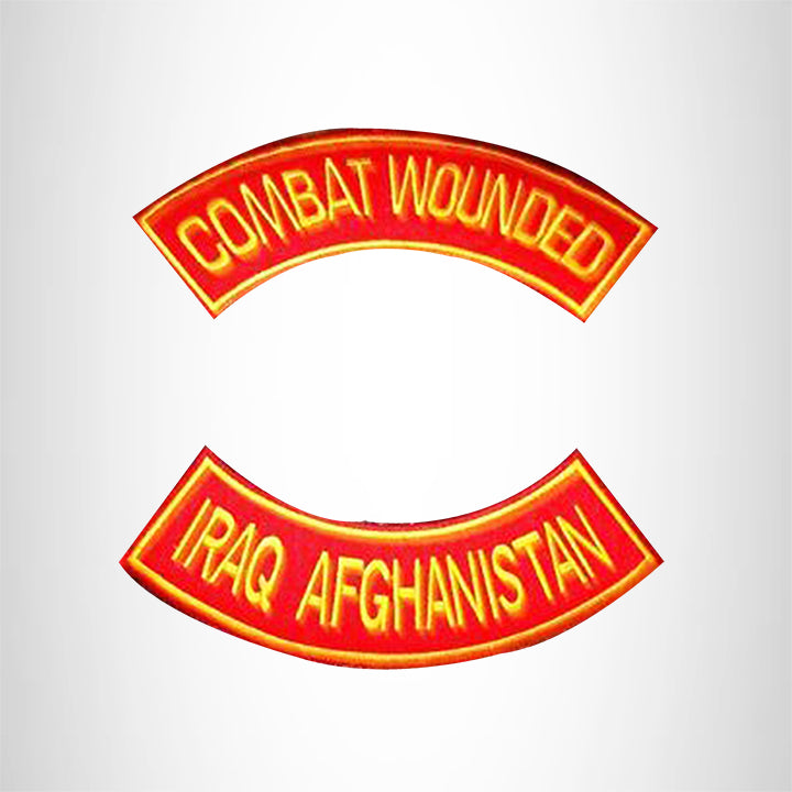 COMBAT WOUNDED IRAQ AFGHANISTAN 2 Patches Set Sew on for Vest Jacket