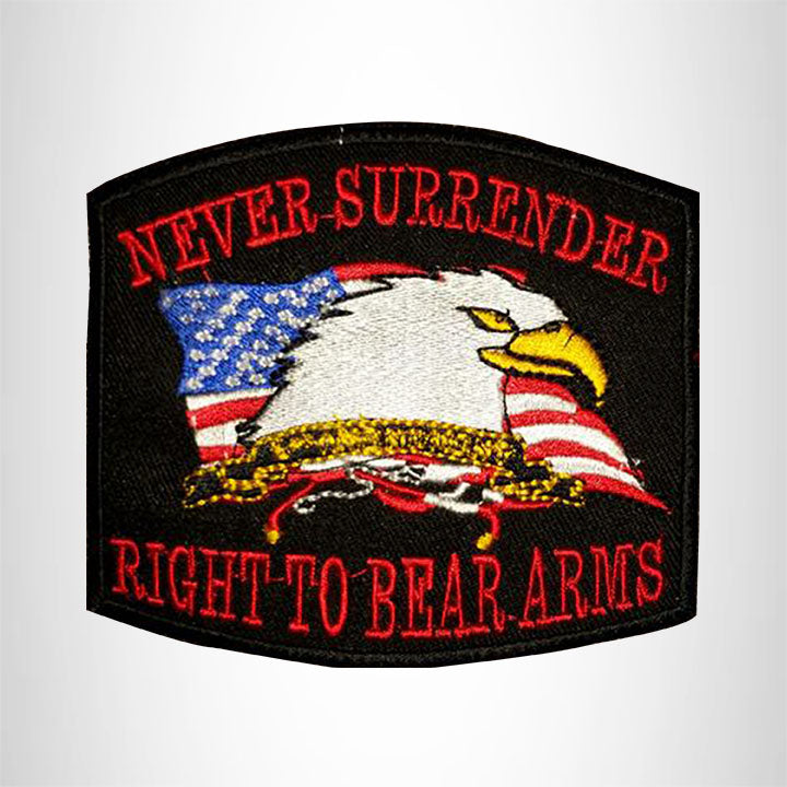 Never Surrender Red yellow on Black Iron on Small Patch for Biker Vest