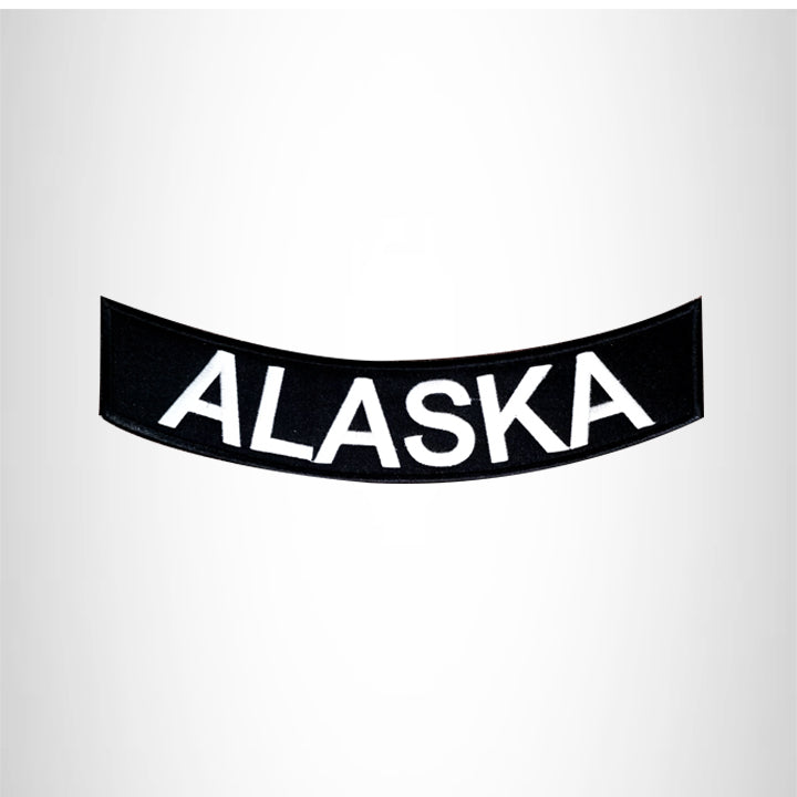 ALASKA White on Black Bottom Rocker Patch for Vest jacket BR406